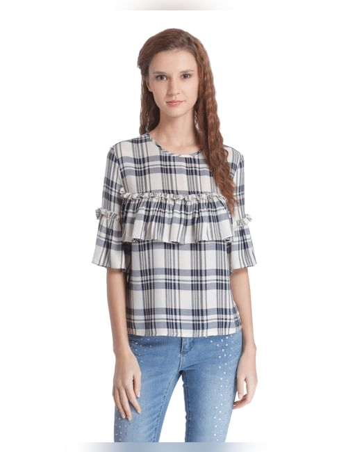 White Check Frill Detail Top