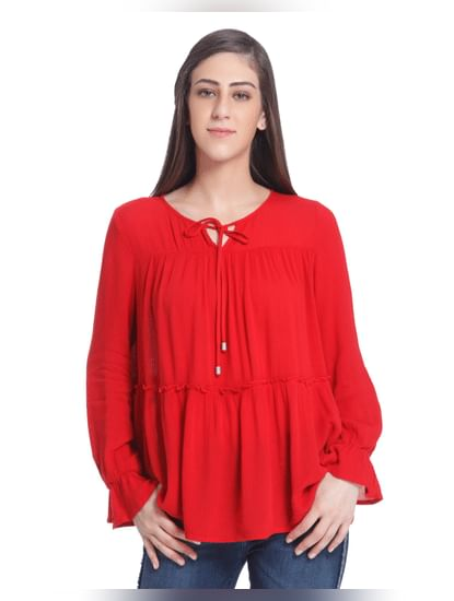 Red Full Sleeve Loose Top