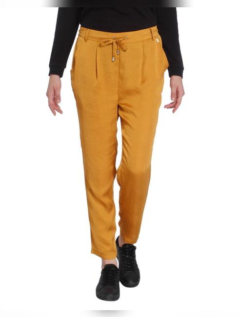 Mustard Tape Detail Satin Pants