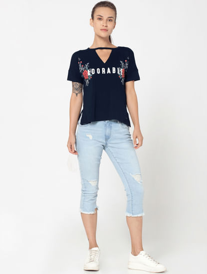 Light Blue Distressed Mid Rise Super Slim Cropped Jeans