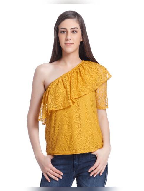 Yellow One Shoulder Lace Top