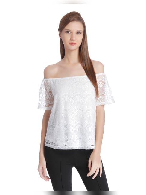 White Off Shoulder Lace Top