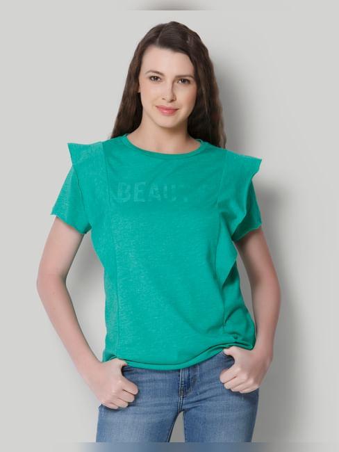 Bright Green Text Print Frill Detail T-Shirt