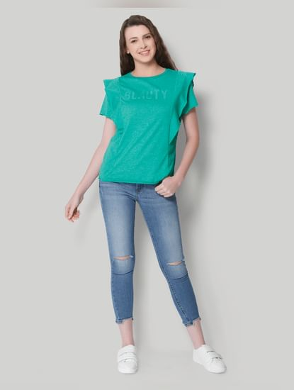 Bright Green Text Print Frill Detail T-Shirt