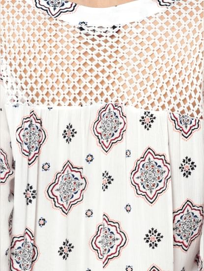 White Printed Mesh Detail Top