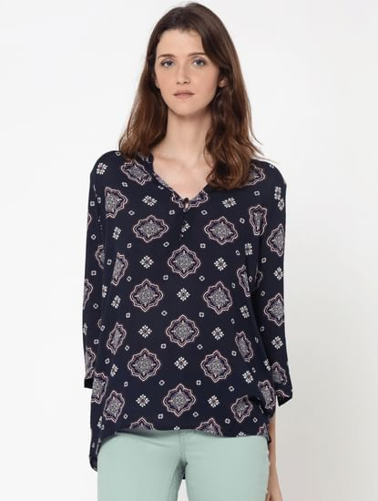Dark Blue All Over Print Mesh Detail Top