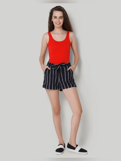Dark Blue Striped Shorts