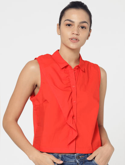 Red Frill Detail Shirt