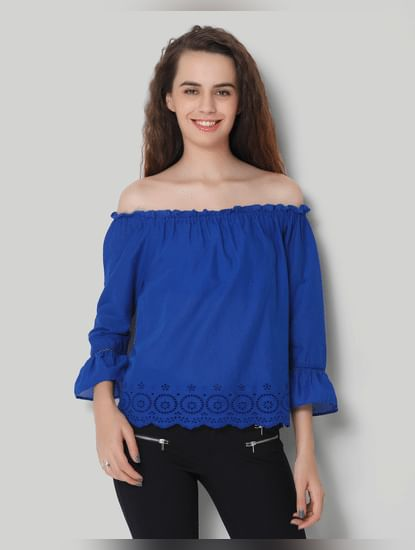 Blue Off Shoulder 3/4Th Sleeve Top