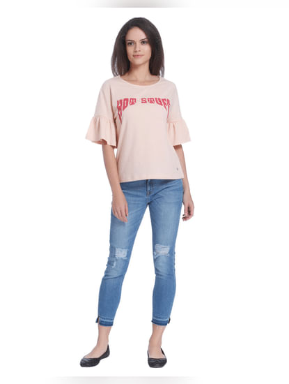 Beige Flared Sleeves T-Shirt