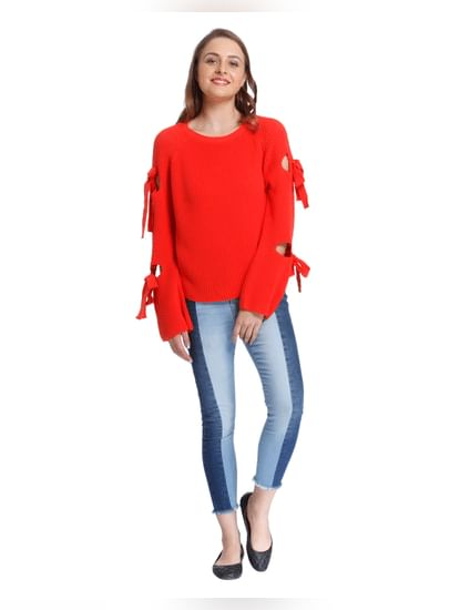 Orange Knot Sleeves Pullover