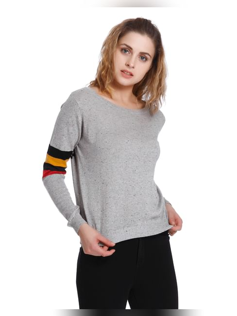 Grey Text Print Pullover