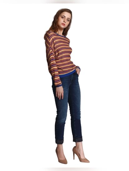 Mustard Striped Drop Shoulder Top