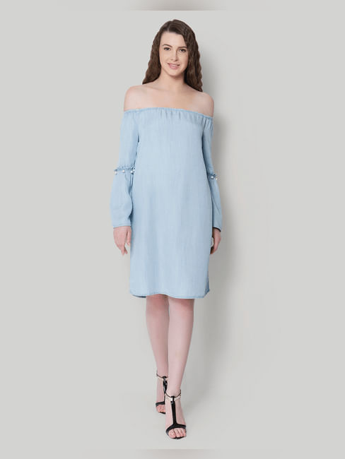 Light Blue Off Shoulder Pearl Embellished Shift Dress