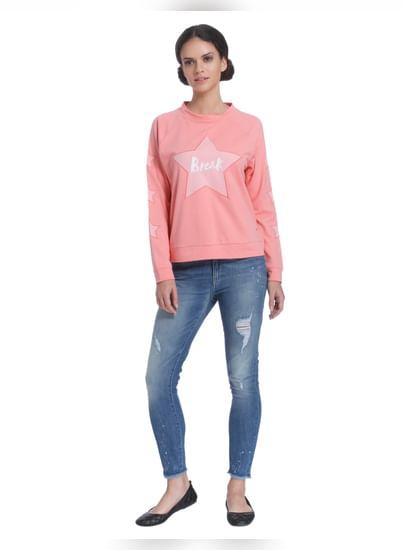 Rose Pink Star Print Sweatshirt