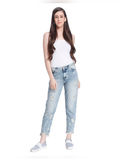 Light Blue Distressed Boyfriend Fit Jeans