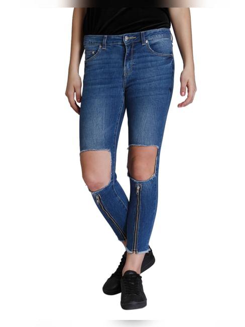 Dark Blue Zip Detail Ripped Super Low Skinny Fit Jeans