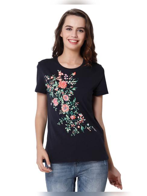 Dark Blue Floral Embroidered T-Shirt