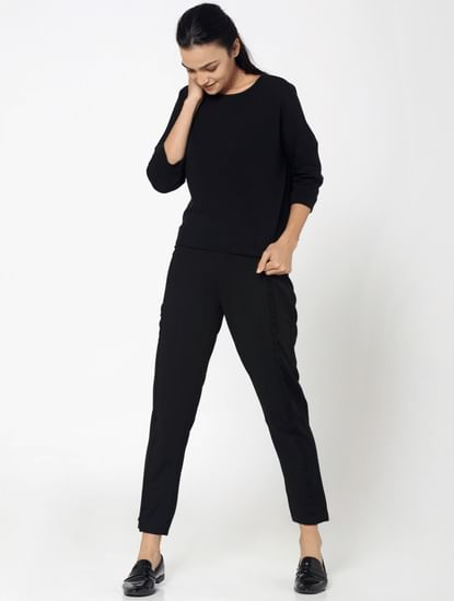 Black Frill Detail Mid Rise Slim Fit Pants