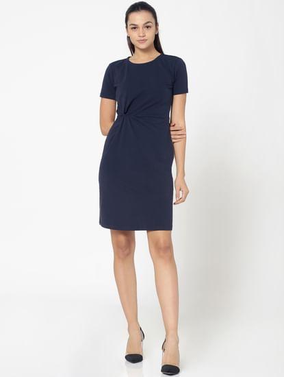 Dark Blue Twist Detail Shift Dress