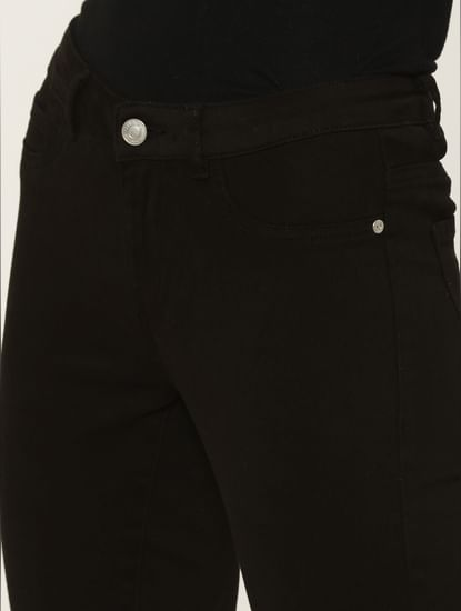 Black Mid Rise Skinny Fit Pants
