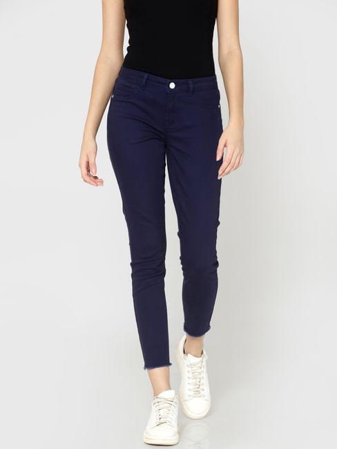 Dark Blue Mid Rise Skinny Fit Ankle Length Pants