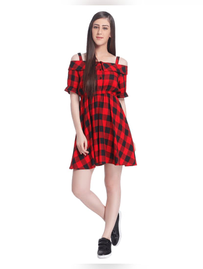 Red And Black Check Mini Dress