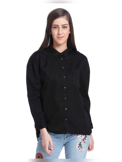 Black Slogan Print Shirt