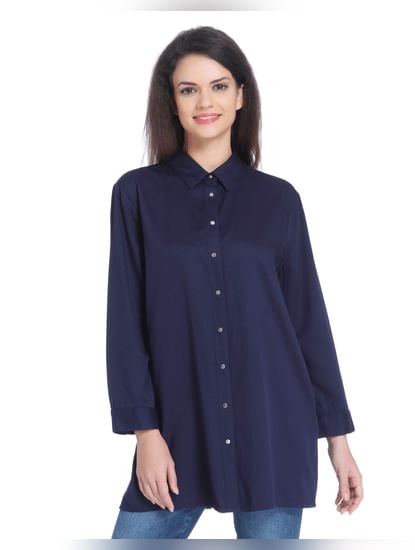 Dark Blue Slogan Print Long Shirt