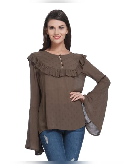 Brown Flared Sleeves Shirt