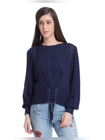 Dark Blue Lace Up Top