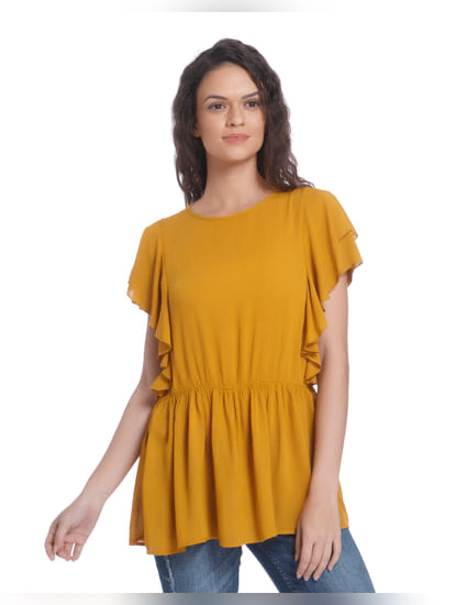 Mustard Frill Sleeves Fit & Flare Top