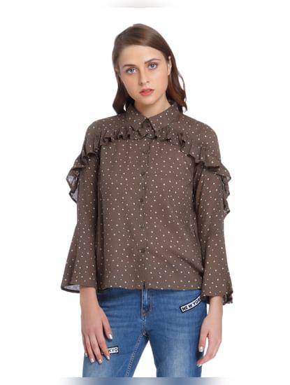Brown Star Print Ruffle Shirt