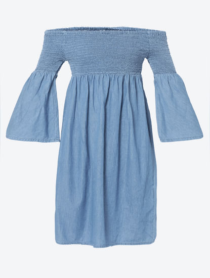 Blue Off Shoulder Smock Detail Shift Denim Dress