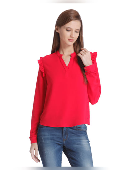 Red Frill Detail Top
