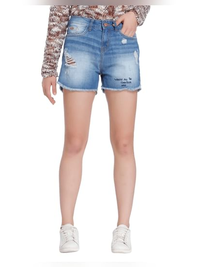 Light Blue Distressed Mid Rise Denim Shorts