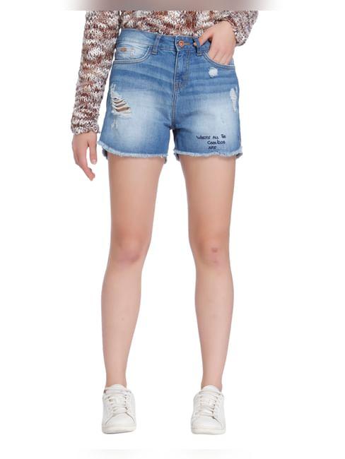 Light Blue Distressed Mid Rise Denim Shorts