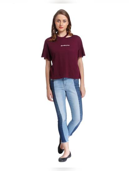 Burgundy Slogan Print T-Shirt