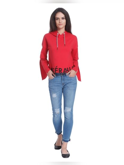 Red Flared Sleeves Hooded Sweatshirt