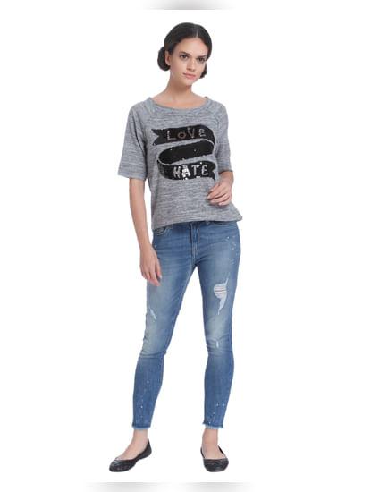 Grey Sequined Sweatshirt