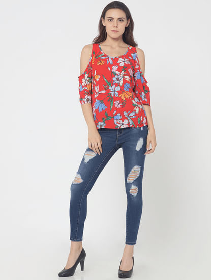 Red Floral Print Cold Shoulder Top