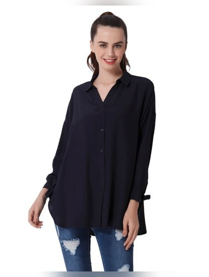 Dark Blue Knot Sleeves Oversized Shirt