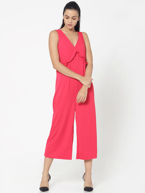 Pink Frill Detail Culottes Jumpsuit