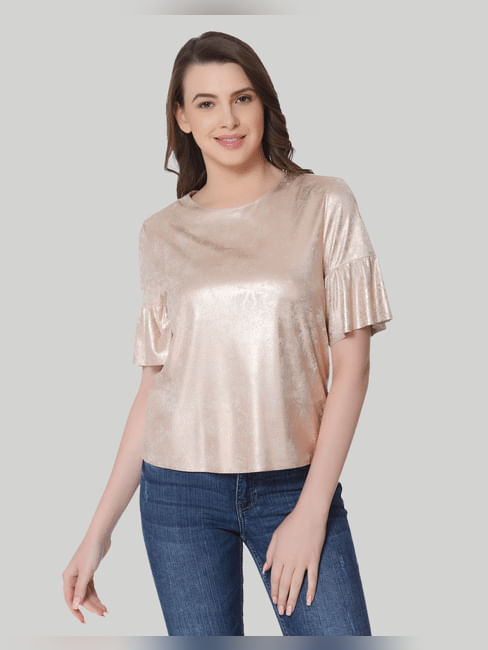 Gold Faux Suede Top