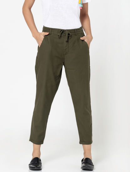 Olive Green Mid Rise Regular Fit Pants