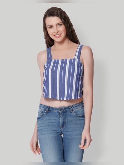Blue Striped Spaghetti Strap Top