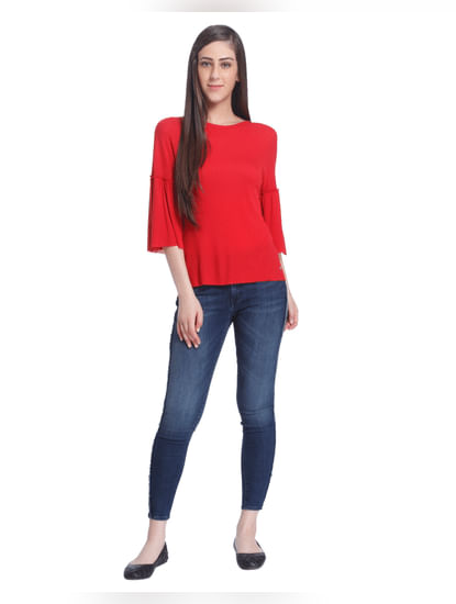 Red Flared Sleeves T-Shirt