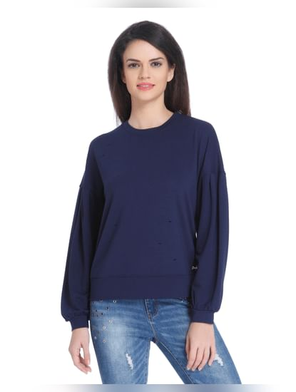 Dark Blue Distressed Sweatshirt