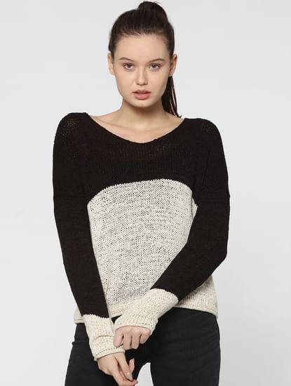 Black Colourblocked Knit Pullover