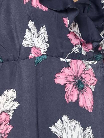 Dark Blue Floral Print Maxi Dress